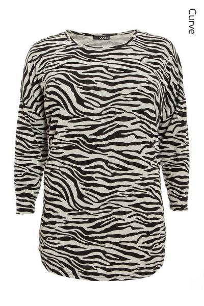 Curve Light Knit Zebra Print Top